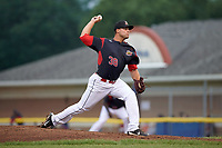 Batavia Muckdogs relief pitcher Vincenzo Aiello (38) delivers a pitch during a game against the Lowell Spinners on July 12, 2017 at Dwyer Stadium in Batavia, New York.  Batavia defeated Lowell 7-2.  (Mike Janes/Four Seam Images)