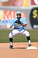 Wilmington Blue Rocks second baseman Jack Lopez (11) waits for a throw during a game against the Myrtle Beach Pelicans on April 27, 2014 at Frawley Stadium in Wilmington, Delaware.  Myrtle Beach defeated Wilmington 5-2.  (Mike Janes/Four Seam Images)