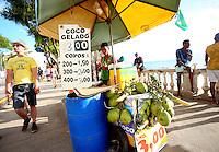 Coco Gelado are sold on Farol da Barra beach in Salvador, one of the 12 host cities for the 2014 FIFA World Cup