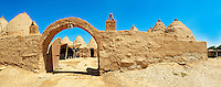 "Pictures of the beehive adobe buildings of Harran, south west Anatolia, Turkey.  Harran was a major ancient city in Upper Mesopotamia whose site is near the modern village of Altınbaşak, Turkey, 24 miles (44 kilometers) southeast of Şanlıurfa. The location is in a district of Şanlıurfa Province that is also named ""Harran"". Harran is famous for its traditional 'beehive' adobe houses, constructed entirely without wood. The design of these makes them cool inside. 38"
