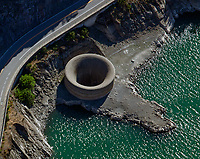 aerial photograph of the Glory Hold Spillway at Lake Berryessa, Napa County, California during drought conditions