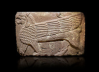 Phrygian relief sculpted orthostat stone panel Andesite, Atateirk Orman ciftligi, Ankara, 12OO-700 B.C. Anatolian Civilisations Museum, Ankara, Turkey.<br /> <br /> Winged griffin with a bird's head and a lion's body. There is a bird's head at the end of its tail. The chest was processed like fish scales. Its wing extends along the body. Muscles in its legs are schematic. <br /> <br /> Against a black background.