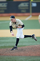 Wake Forest Demon Deacons relief pitcher William Fleming (38) follows through on his delivery against the Virginia Cavaliers at David F. Couch Ballpark on May 19, 2018 in  Winston-Salem, North Carolina. The Demon Deacons defeated the Cavaliers 18-12. (Brian Westerholt/Four Seam Images)