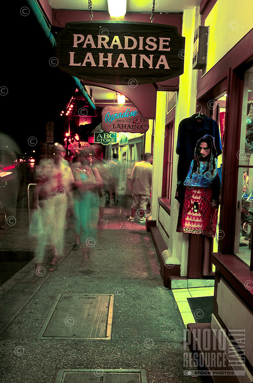 Nighttime shoppers in the town of Lahaina, Maui