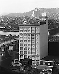 Pittsburgh PA:  View of the Penn Rose Building with Allegheny General Hospital in the background. The building was located in the Strip District of Pittsburgh