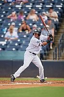 Tampa Tarpons Omar Carrizales (12) bats during a Florida State League game against the Jupiter Hammerheads on July 26, 2019 at George M. Steinbrenner Field in Tampa, Florida.  Tampa defeated Jupiter 2-0.  (Mike Janes/Four Seam Images)