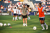 United States (USA) head coach Pia Sundhage watches warmups. The United States (USA) women defeated China PR (CHN) 4-1 during an international friendly at PPL Park in Chester, PA, on May 27, 2012.