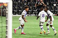ATLANTA, GA - AUGUST 29: Junior Urso #11 of Orlando City celebrates Orlando's third goal during a game between Orlando City SC and Atlanta United FC at Marecedes-Benz Stadium on August 29, 2020 in Atlanta, Georgia.