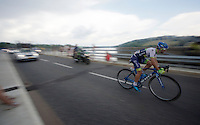 Michael Matthews (AUS/Orica-GreenEDGE) over the bridge of the Lac de Pareloup<br /> <br /> stage 14: Rodez - Mende (178km)<br /> 2015 Tour de France