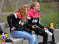 Jennifer Bouchenna (8) of Sporting Charleroi pictured with Lou Periquet during a female soccer game between Sporting Charleroi and White Star Woluwe on the first matchday in the 2021 - 2022 season of Belgian Scooore Womens Super League , friday 20 August 2021 in Marcinelle , Belgium . PHOTO SPORTPIX | DAVID CATRY