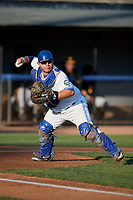 Bluefield Blue Jays catcher Alejandro Kirk (5) throws to first base during a game against the Bristol Pirates on July 26, 2018 at Bowen Field in Bluefield, Virginia.  Bristol defeated Bluefield 7-6.  (Mike Janes/Four Seam Images)
