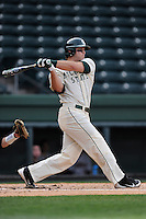 Right fielder Jimmy Pickens (9) of the Michigan State Spartans bats in a game against the Harvard Crimson on Saturday, March 15, 2014, at Fluor Field at the West End in Greenville, South Carolina. Michigan State won, 4-0. (Tom Priddy/Four Seam Images)