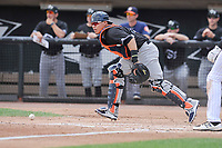 Quad Cities River Bandits catcher Gabriel Bracamonte (6) chase wild pitch during a game against the Wisconsin Timber Rattlers at Fox Cities Stadium on June 27, 2017 in Appleton, Wisconsin.  Wisconsin lost 6-5.  (Dennis Hubbard/Four Seam Images)