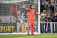 Orlando, FL - Saturday Jan. 21, 2017: Corinthians goalkeeper Cassio Ramos (12) is frustrated with his team during the second half of the Florida Cup Championship match between São Paulo and Corinthians at Bright House Networks Stadium. The game ended 0-0 in regulation with São Paulo defeating Corinthians 4-3 on penalty kicks