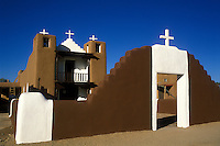 USA, New Mexico, Taos Pueblo, San Geronimo Chapel, adobe style church.