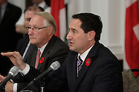 October 30 2012 - Montreal, Quebec, CANADA -  Presentation of Montreal city budget by Michaell Applebaum and <br />  Montreal Mayor Gerald Tremblay, who is now avoiding public appeareance and the medias, after troubling revelation  at Charbonneau Commission regarding his knowledge of corruption at City Hall. - Michael Applebaum is one of the possible replacement of Mayor Gerald Tremblay who resigned November 5, 2012.