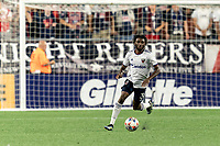 FOXBOROUGH, MA - AUGUST 18: Chris Odoi-Atsem #3 of D.C. United brings the ball forward during a game between D.C. United and New England Revolution at Gillette Stadium on August 18, 2021 in Foxborough, Massachusetts.