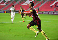 IBAGUE -COLOMBIA, 05-03-2019: Danovis Banguero del Tolima celebra después de anotar el primer gol de su equipo partido por la fecha 1, grupo G, de la Copa CONMEBOL Libertadores 2019 entre Deportes Tolima de Colombia y Athletico Paranaense de Brasil jugado en el estadio Manuel Murillo Toro de la ciudad de Ibagué. / Danovis Banguero of Tolima celebrates after scoring the first goal of his team during match for the date 1, grupo G, as part of Copa CONMEBOL Libertadores 2019 between Deportes Tolima and Athletico Paranaense of Brazil played at Manuel Murillo Toro stadium in Ibague. Photo: VizzorImage / Juan Carlos Escobar / Cont