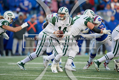 New York Jets quarterback Sam Darnold (14) drops back during an NFL football game against the Buffalo Bills, Sunday, December 9, 2018, in Orchard Park, N.Y.  (Mike Janes Photography)