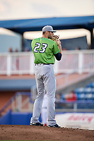 Lynchburg Hillcats starting pitcher Sam Hentges (23) set to deliver a pitch during a game against the Salem Red Sox on May 10, 2018 at Haley Toyota Field in Salem, Virginia.  Lynchburg defeated Salem 11-5.  (Mike Janes/Four Seam Images)