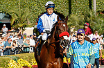 DEL MAR, CA  AUGUST 1: #6 Venetian Harbor, ridden by Mario Gutierrez, in the paddock before the Clement L. Hirsch Stakes (Grade 1) Breeders Cup Win and You're In Distaff Division on August 1, 2021 at Del Mar Thoroughbred Club in Del Mar, CA.