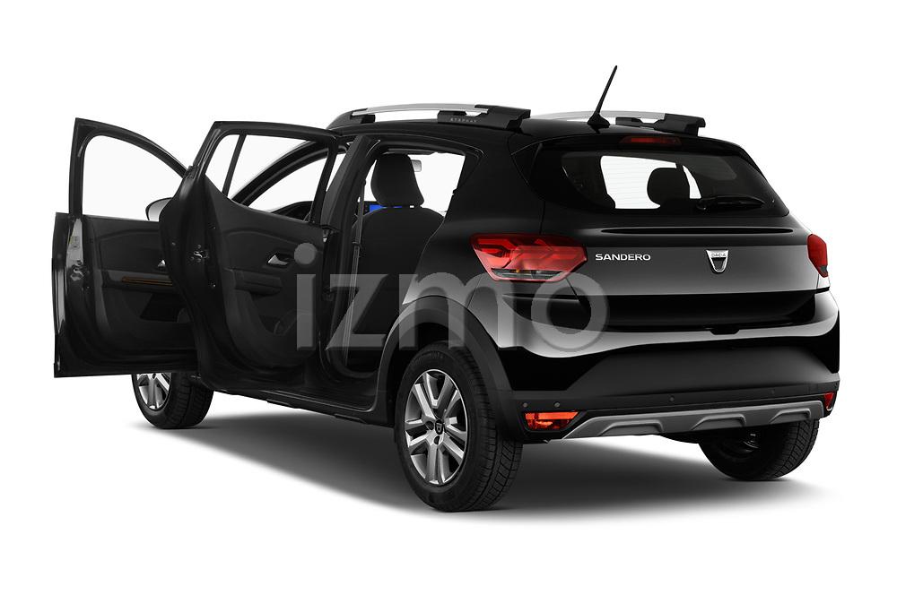Rear three quarter door view of a 2021 Dacia Sandero Stepway Plus 5 Door Hatchback