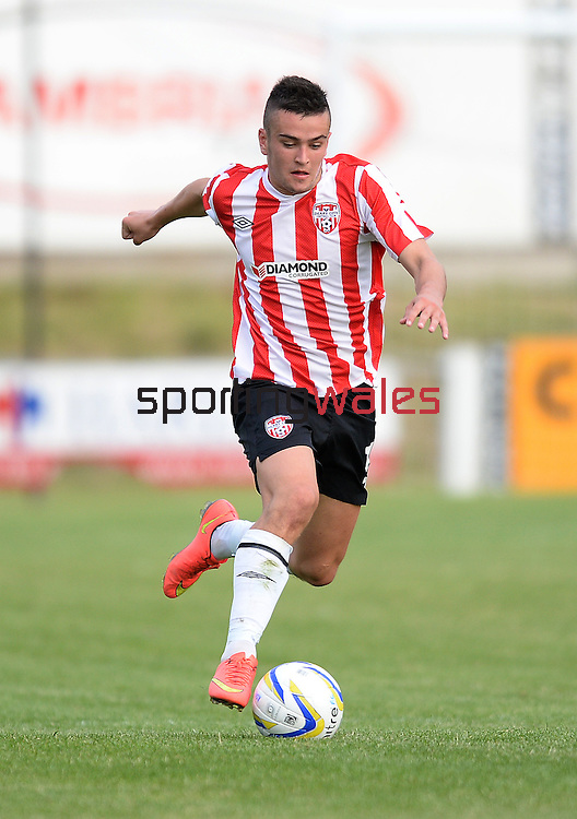 10 July 2014; Michael Duffy, Derry City, in action against, Aberystwyth Town. UEFA Europa League First Qualifying Round, Second Leg, Aberystwyth Town v Derry City. Park Avenue, Aberystwth, Wales. Picture credit: Ian Cook / SPORTINGWALES