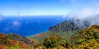 Iconic view of the Kalalau Valley over the Pacific Ocean, from the Pihea Trail near Pu'u O Kila Lookout on the Na Pali coast of Kauai Island, Hawaii