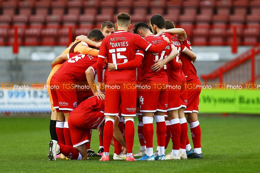 Crawley team huddle during Crawley Town vs Carlisle United, Sky Bet EFL League 2 Football at Broadfield Stadium on 21st November 2020