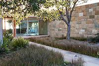Entry courtyard to modern home andCalifornia native plant garden, Santa Barbara,