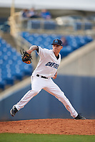 Lake County Captains relief pitcher Skylar Arias (9) delivers a pitch during the first game of a doubleheader against the South Bend Cubs on May 16, 2018 at Classic Park in Eastlake, Ohio.  South Bend defeated Lake County 6-4 in twelve innings.  (Mike Janes/Four Seam Images)