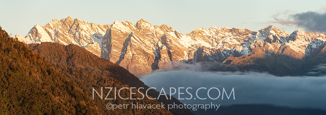 Butler Ranges of Southern Alps at sunset, South Westland, West Coast, New Zealand, NZ