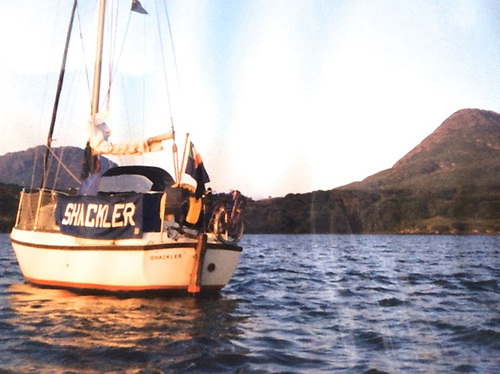 Marie Breathnach's Seamaster 23 Shackler at Barnaderg under Diamond Hill in Connemara during her 1995 solo Round Ireland Cruise