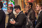 Mar. 4, 2015; Students wait in line in the Basilica of the Sacred Heart to pay their respects to the late President Emeritus Rev. Theodore M. Hesburgh, C.S.C..(Photo by Matt Cashore/University of Notre Dame)
