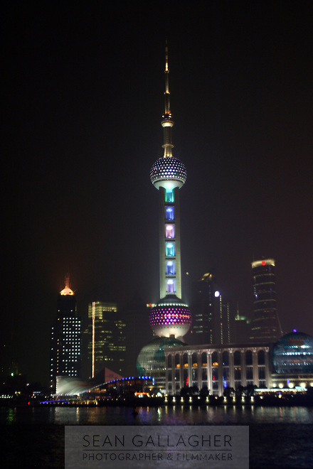 CHINA. Shanghai. A view of the Oriental Pearl Tower. The Oriental Pearl Tower stands by the bank of Huangpu River. It is in the centre of Lujiazui, opposite to the Bund which is famous for its grand buildings of various architectural styles. The tower is 468 metres high. It is the highest TV Tower in Asia and is the third highest one in the world.2008..