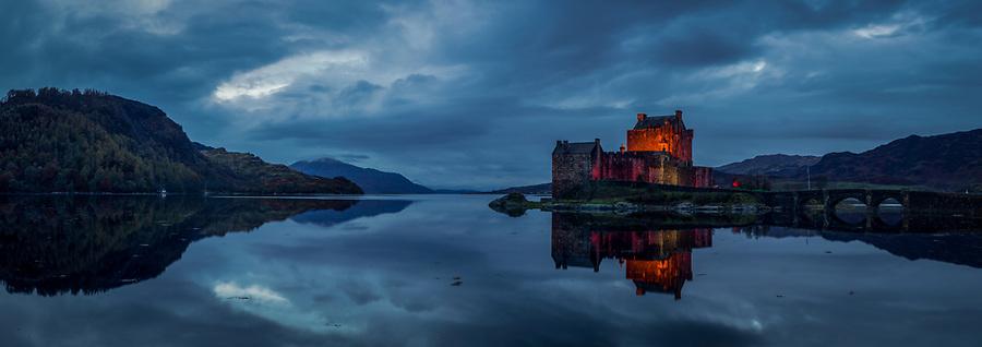 Eileen Donan Castle, Scotland.  A four-image panorama.