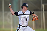 Dylan Koontz (18) during the WWBA World Championship at Terry Park on October 10, 2020 in Fort Myers, Florida.  Dylan Koontz, a resident of Huntersville, North Carolina who attends William Amos Hough High School, is committed to Campbell.  (Mike Janes/Four Seam Images)