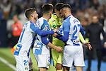 CD Leganes' Ruben Perez, Unai Bustinza and Oscar Rodriguez have words with Getafe CF's Mathias Olivera during La Liga match. January 17,2020. (ALTERPHOTOS/Acero)