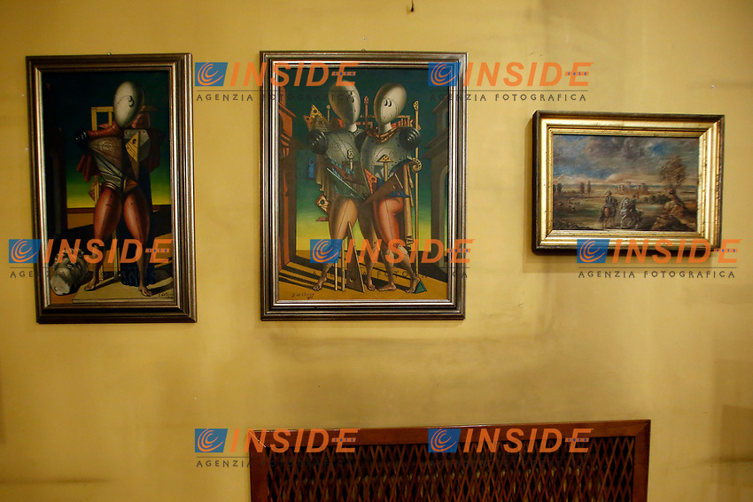 Two De Chirico paintings during the o opening of the actor Alberto Sordi's house museum in Rome. In occasion of the centenary of his  birth, the villa in the heart of Rome, where he lived from 1959 to death, was opened to the public, becoming a house-museum. The house still contains thousand of objects belonged to the actor. In the garden two more tensile structures were added, containing stage clothes, posters of his films, photos and much more. <br /> Rome (Italy), September 15th 2020<br /> Photo Samantha Zucchi Insidefoto