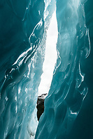 Deep blue ice crevasse on Franz Josef Glacier, Westland Tai Poutini National Park, West Coast, UNESCO World Heritage Area, New Zealand, NZ