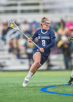 25 April 2015: University of New Hampshire Wildcat Midfielder Marissa Gurello, a Sophomore from Manorville, NY, in action against the University of Vermont Catamounts at Virtue Field in Burlington, Vermont. The Lady Catamounts defeated the Lady Wildcats 12-10 in the final game of the season, advancing to the America East playoffs. Mandatory Credit: Ed Wolfstein Photo *** RAW (NEF) Image File Available ***