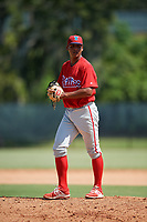 Philadelphia Phillies pitcher Cristian Hernandez (70) gets ready to deliver a pitch during a Florida Instructional League game against the Atlanta Braves on October 5, 2018 at the Carpenter Complex in Clearwater, Florida.  (Mike Janes/Four Seam Images)