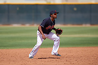 AZL Indians Blue shortstop Jose Tena (24) during an Arizona League game against the AZL Indians Red on July 7, 2019 at the Cleveland Indians Spring Training Complex in Goodyear, Arizona. The AZL Indians Blue defeated the AZL Indians Red 5-4. (Zachary Lucy/Four Seam Images)