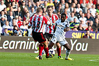Saturday 19 October 2013 Pictured: Nathan Dyer tries to break through the  Sunderland defence<br /> Re: Barclays Premier League Swansea City vSunderland at the Liberty Stadium, Swansea, Wales