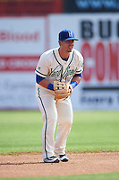 Hartford Yard Goats second baseman Zach Osborne (5) during the first game of a doubleheader against the Trenton Thunder on June 1, 2016 at Sen. Thomas J. Dodd Memorial Stadium in Norwich, Connecticut.  Trenton defeated Hartford 4-2.  (Mike Janes/Four Seam Images)