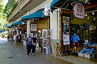 Shoppers are drawn to a wide variety of fashion and unique gift choices at the Aloha Tower Marketplace located near downtown Honolulu, Oahu.