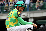 LOUISVILLE, KY - MAY 06: Mike Smith, aboard Arklow #6, celebrates after winning the American Turf Stakes on Kentucky Derby Day at Churchill Downs on May 6, 2017 in Louisville, Kentucky. (Photo by Mary Meek/Eclipse Sportswire/Getty Images)