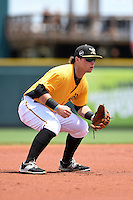 Bradenton Marauders third baseman Wyatt Mathisen (15) during a game against the Jupiter Hammerheads on April 19, 2015 at McKechnie Field in Bradenton, Florida.  Jupiter defeated Bradenton 7-2.  (Mike Janes/Four Seam Images)