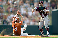 Texas A&M Aggies second baseman Andrew Collazo #6 throws over Jonathan Walsh #33 of the Texas Longhorns as he turns a double play in NCAA Big XII Conference baseball on May 21, 2011 at Disch Falk Field in Austin, Texas. (Photo by Andrew Woolley / Four Seam Images)