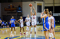 SANTA CRUZ, CA - JANUARY 22: Haley Jones #30 shooting a free throw during a game between UCLA and Stanford University at Kaiser Arena on January 22, 2021 in Santa Cruz, California.
